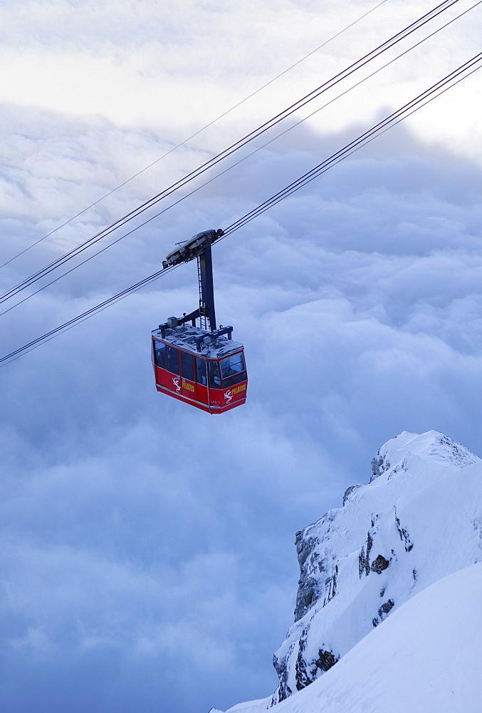Fraekmuentegg gondola cableway going up Pilatus Kulm, Lucerne, Switzerland, Europe
