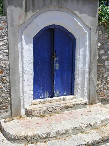 Traditional front door Hydra Saronic island Greece