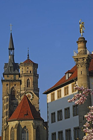 Towers of Collegiate Church  and Mercury column Stuttgart Baden-Wuerttemberg Germany