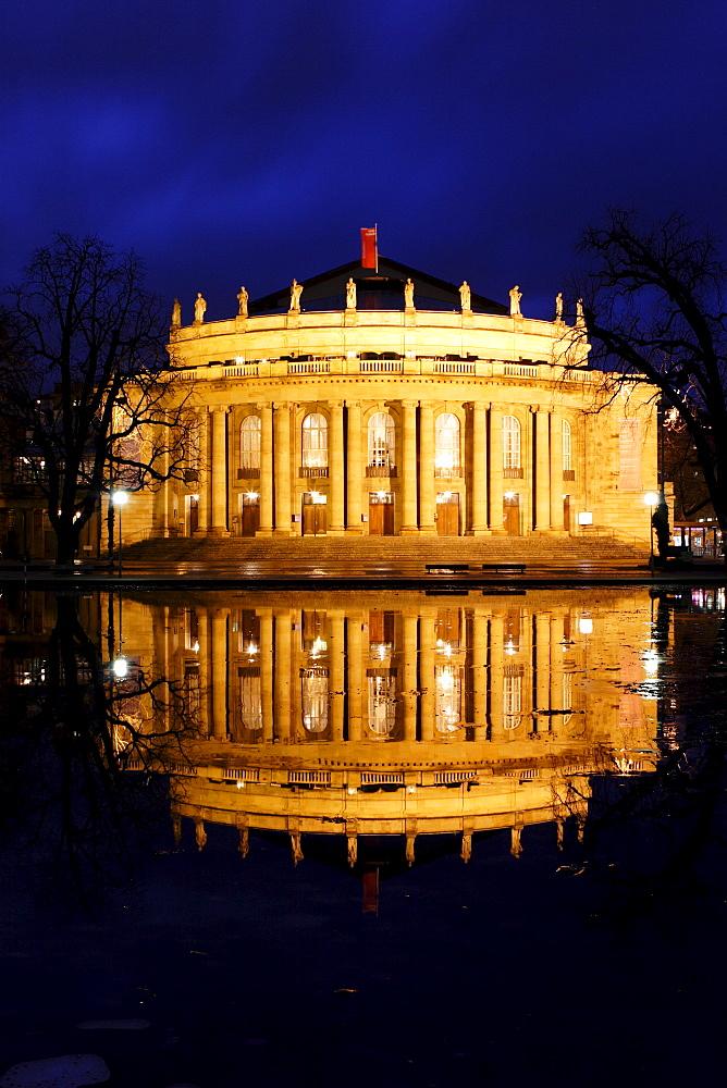 Night shot of the Stuttgart Staatsoper and reflection, Stuttgart, Baden-Wuerttemberg, Germany, Europe