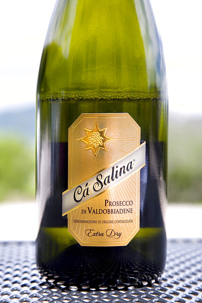 Lable on a bottle, winery of Ca Salina Prosecco, Valdobbiadene, Veneto, Italy, Europe