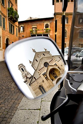 Cathedral reflected in the rear view mirror of a motor scooter, Verona, Venice, Italy, Europe