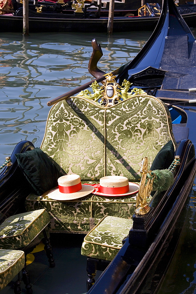Gondolier's hats on a gondola, Venice, Veneto, Italy, Europe - 832-351809