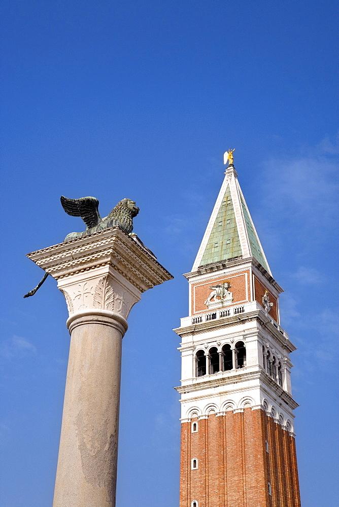 St. Mark's Lion and Campanile, Venezia, Venice, Italy, Europe