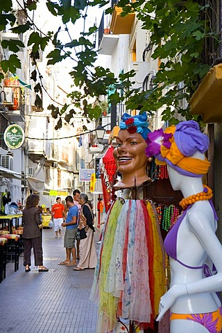 Window dummies in front of a shop in the historic centre of Dalt Villa, Ibiza, Balearic Islands, Spain, Europe