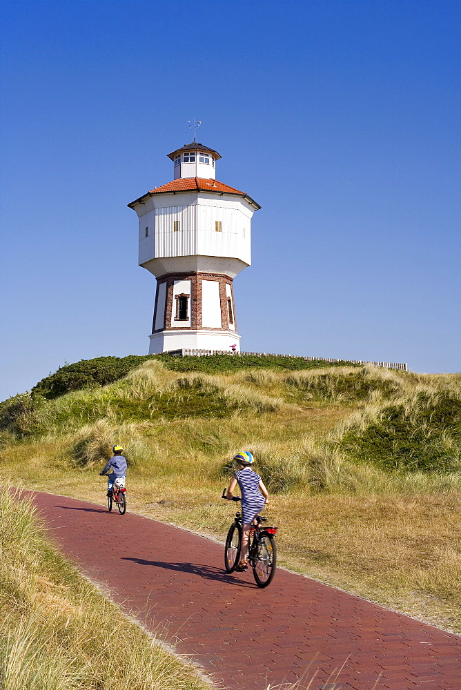 Water tower, bike path, Langeoog Island, East Frisian Islands, East Frisia, Lower Saxony, Germany, Europe