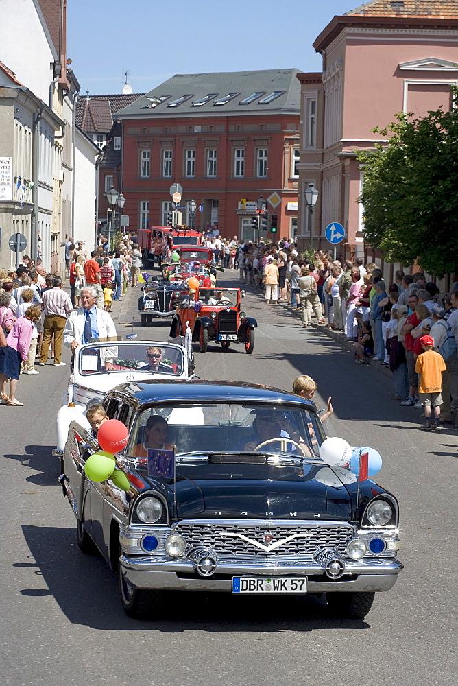 Vintage cars, parade, Barth, Mecklenburg-Western Pomerania, Germany, Europe