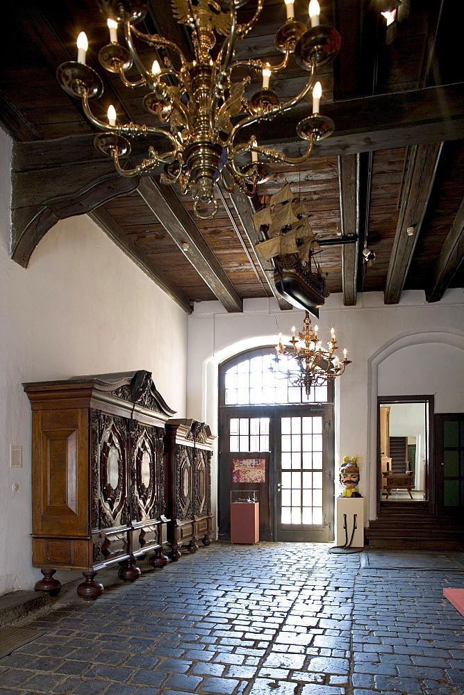 Interior view of the Schabbelhaus, Town Museum, Wismar, Mecklenburg-Western Pomerania, Germany, Europe