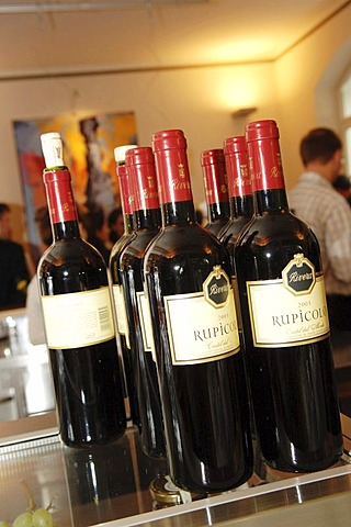 Wine bottles intalian red wine Rupicolo in a restaurant