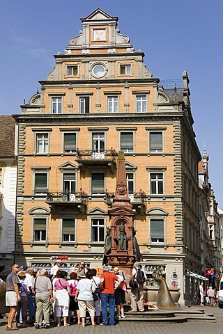 A guided city tour in the old town of Konstanz, Baden-Wuerttemberg, Germany
