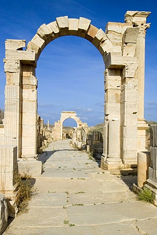 Trajan and Tiberius arch at Leptis Magna, Libya, Unesco World Heritage Site