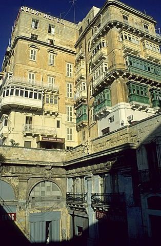 Historic houses at Victoria Gate, Valetta, La Valetta, Malta
