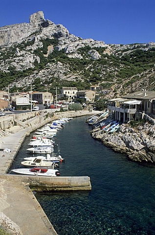 Boats in the harbour of Calanque de Callelongue, Provence, France