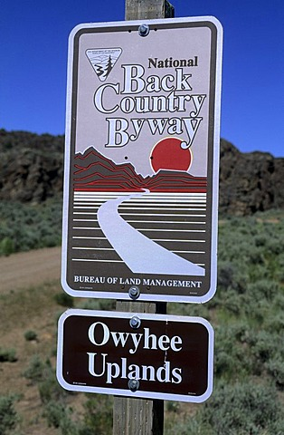 Road sign of a National Backcountry Scenic Byway, Idaho, USA
