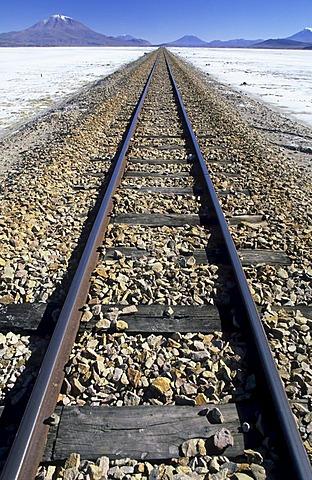 Railroad tracks across Salar de Chiguana, Bolivia