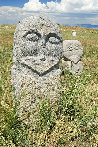 Historic grave stone, balbal, in Balasagun, silk road, Kyrgyzstan