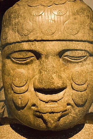 Prehispanic stonehead, Museum of Anthropology, Mexico City, Mexico