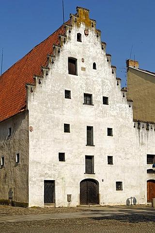 Gothic arsenal, historic old town of Ceske Budejovice, Budweis, Budvar, Bohemia, Czech Republic