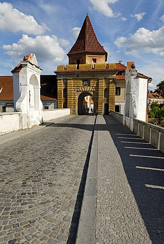 Budweis gate, historic old town of Cesky Krumlov, south Bohemia, Czech Republic