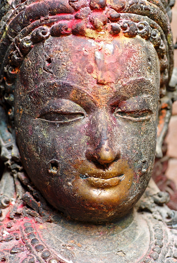 Historic bronce statue, Golden Temple Kwa Bahal, Patan, Kathmandu, Nepal