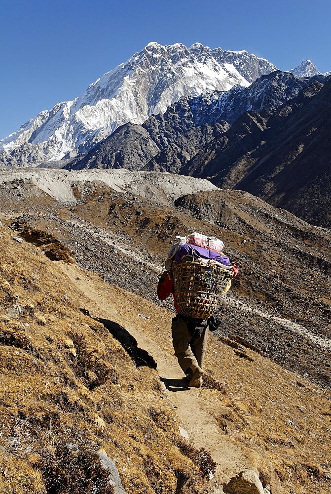 Trekking porter on Khumbu glacier with Nuptse (7861), Khumbu Himal, Sagarmatha National Park, Nepal