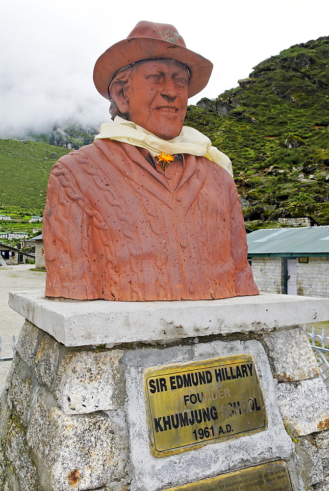 Monument for Sir Edmund Hillary, Khumjung, Sagarmatha National Park, Mount Everest region, Solukhumbu, Khumbu, Nepal