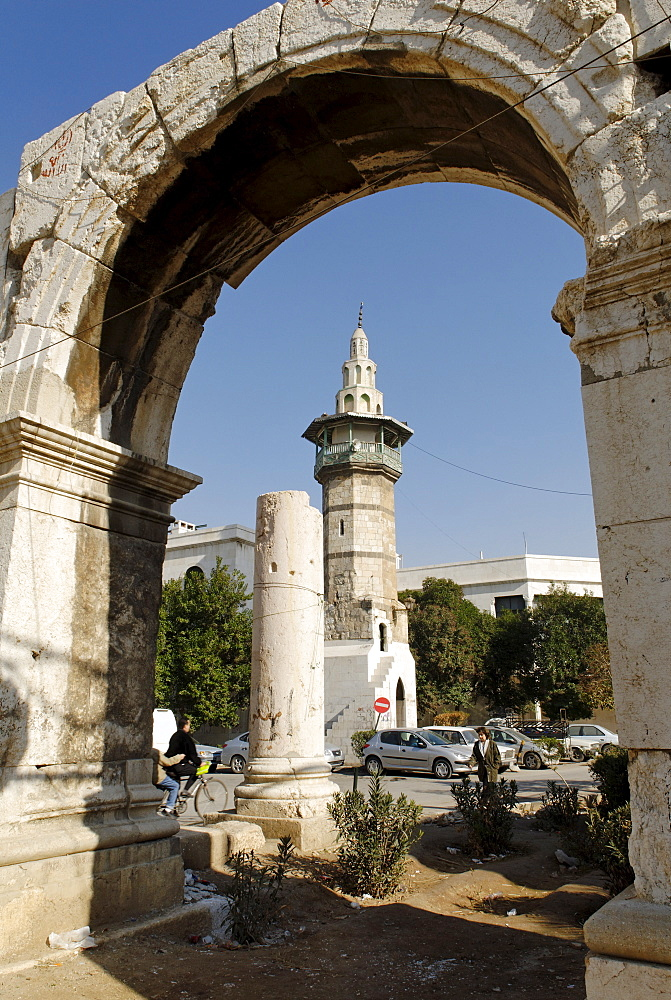 Roman city gate, old town of Damascus, Syria