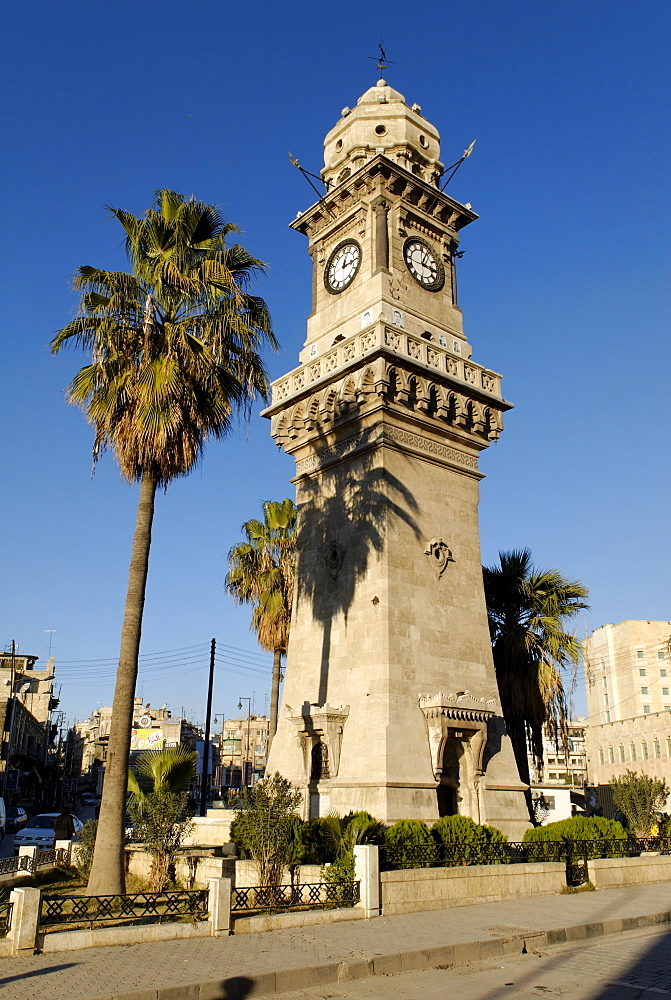 Clock tower in the old town of Aleppo, Syria