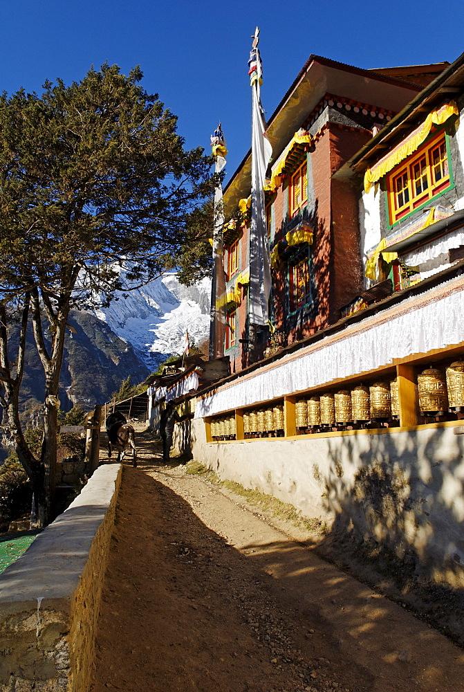 Buddhist monastery at Namche Bazar, Sagarmatha National Park, Khumbu Himal, Nepal