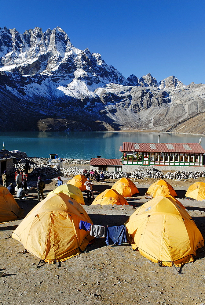 Trekking lodge at Gokyo with Pharilapche (6017), Sagarmatha National Park, Khumbu Himal, Nepal