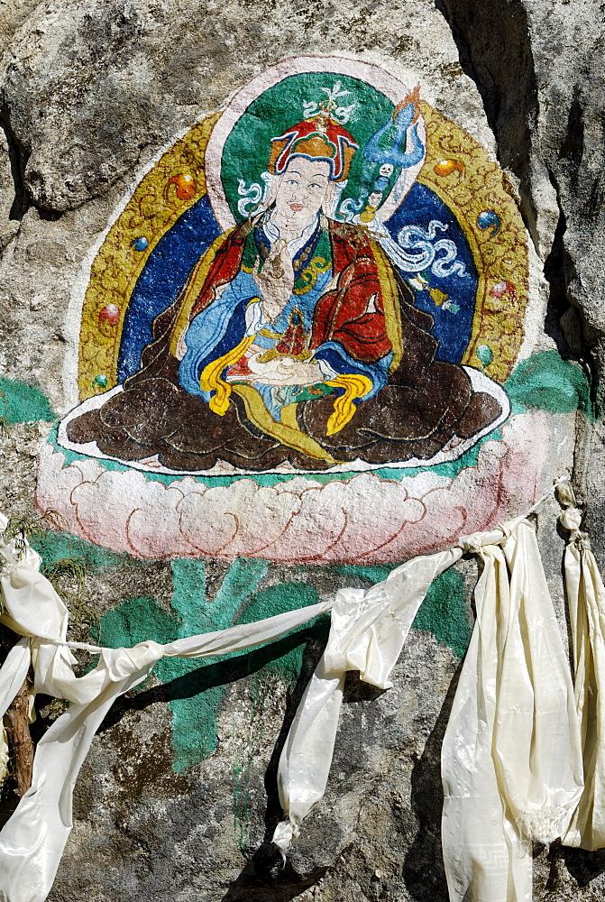 Religious painting, Bhote Koshi Tal, Sagarmatha National Park, Khumbu, Nepal