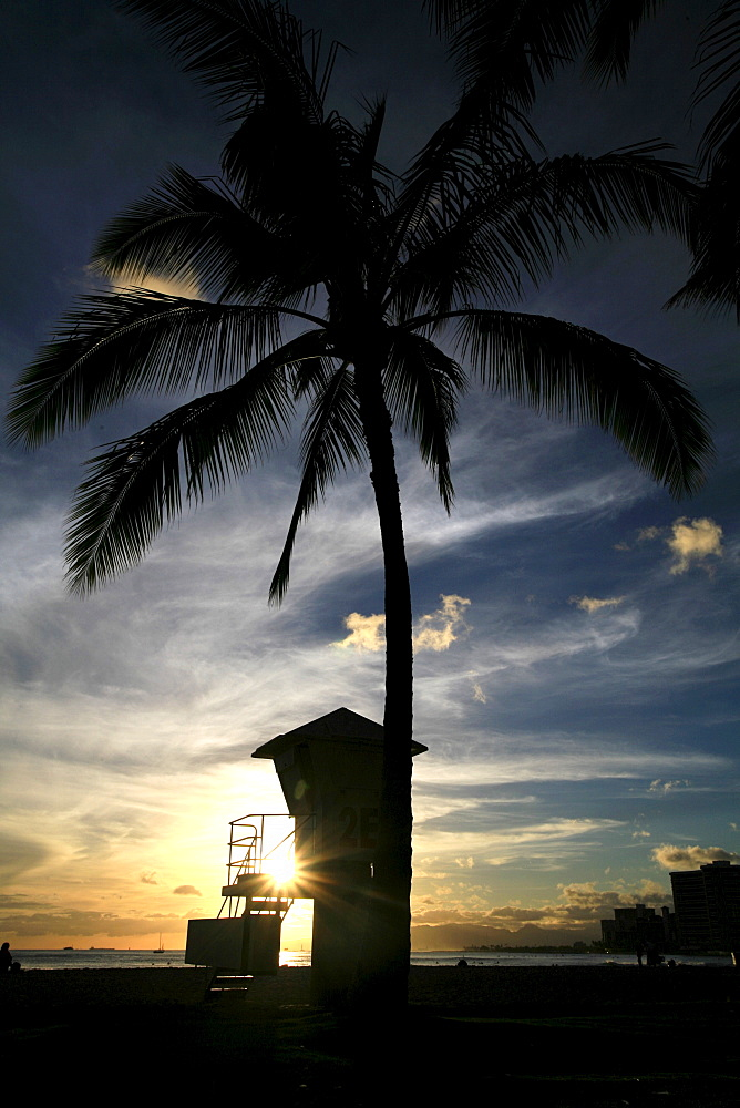 Beach, palm trees and lifeguard tower in Waikiki at sunset, O'ahu Island, Hawaii, USA