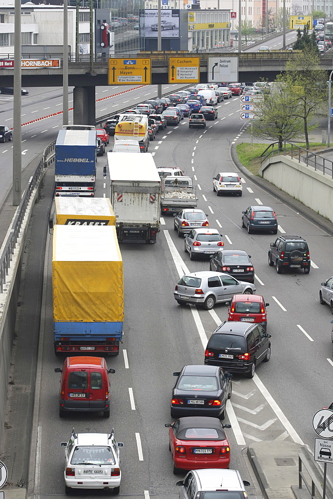Traffic jam in Koblenz city centre, Rhineland-Palatinate, Germany, Europe