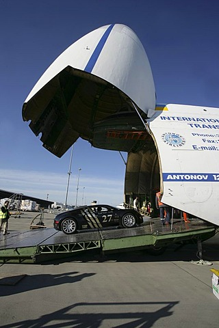 "Sportscars competing in the illegal car-race ""Gumball 3000"" are loaded into two Antonov cargo-aircrafts. Frankfurt/Hahn, Rhineland-Palatinate, Germany"