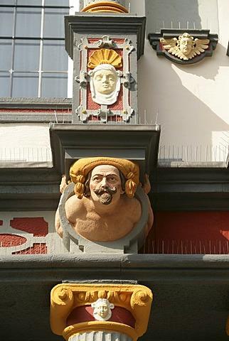 Figures at the cladding of the Von der Leyen´scher Hof in Andernach Rhineland-Palatinate, Germany