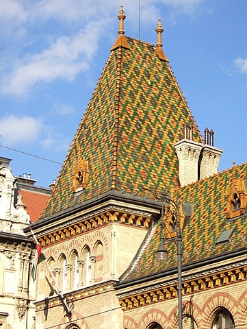 Detailed view of the roof of the central Market Hall, Budapest, Hungary