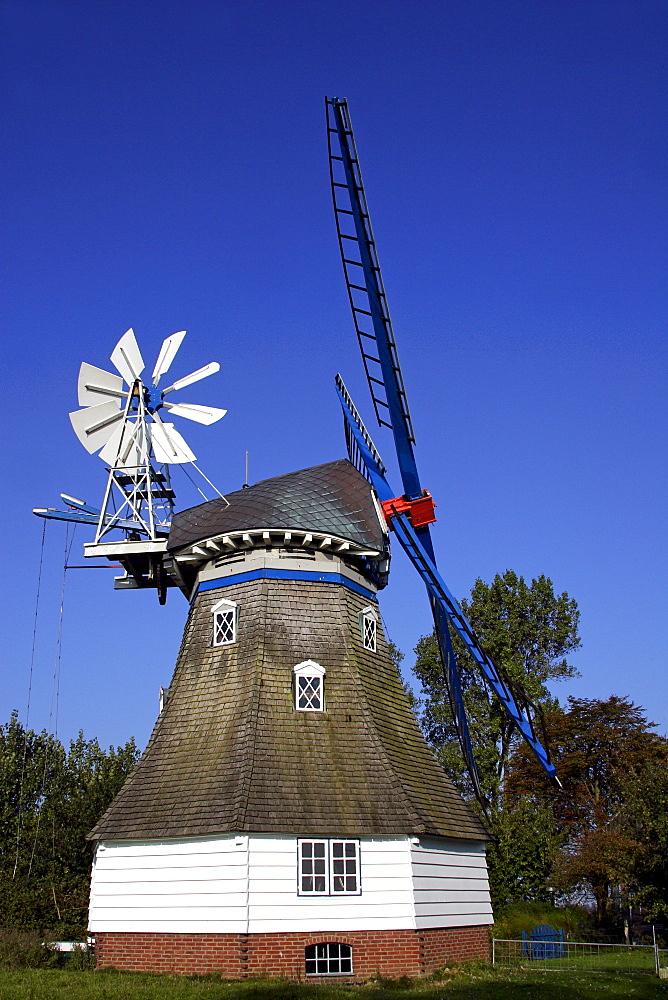 Historic Immanuel Windmill, typical Dutch style, near Marne, Schleswig-Holstein, Germany