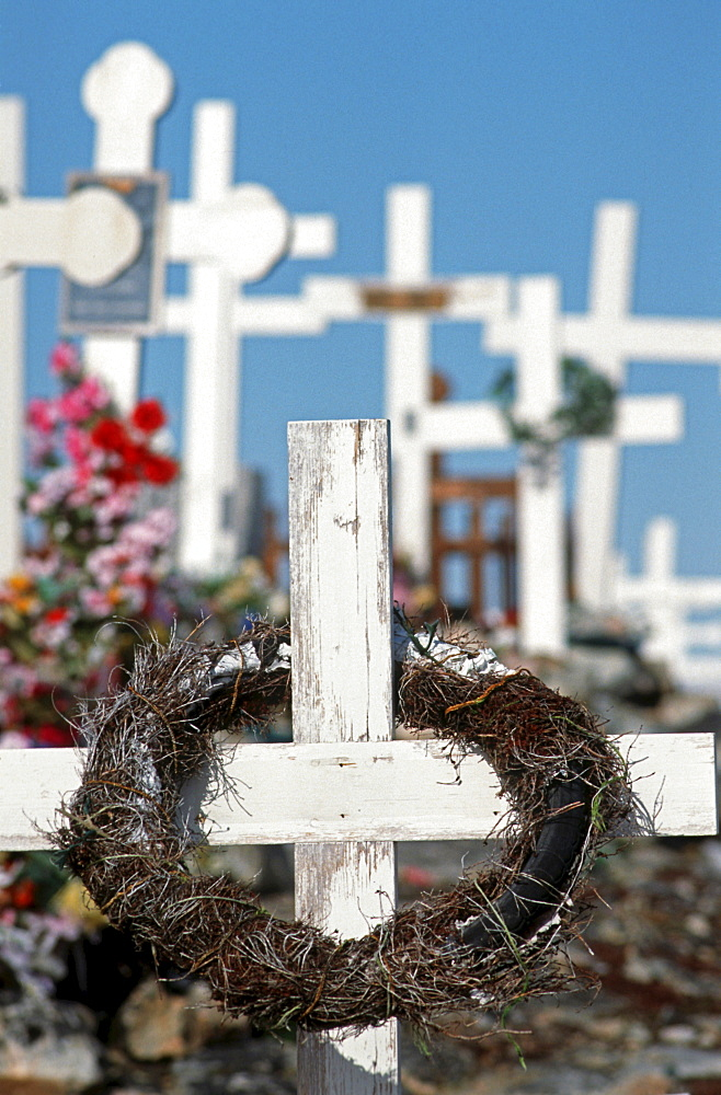 Cemetery with simple white wooden crosses, Ilulissat, Greenland