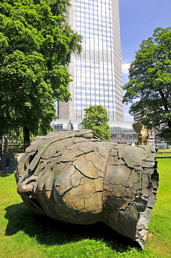 Sculpture Eros Besdato by Igor Mitoraj in front of the Eurotower of the European Central Bank, ECB, Frankfurt, Hesse, Germany, Europe