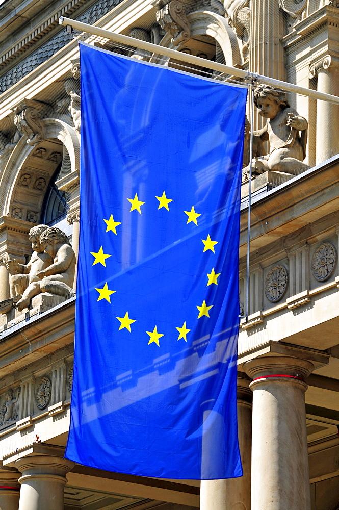 Flag of Europe, Deutsche Boerse AG, Frankfurt, Hesse, Germany, Europe