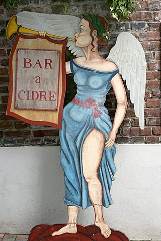 Cardboard figure promotes for a Cider bar , Honfleurs , Calvados , Normandy , France , Europe