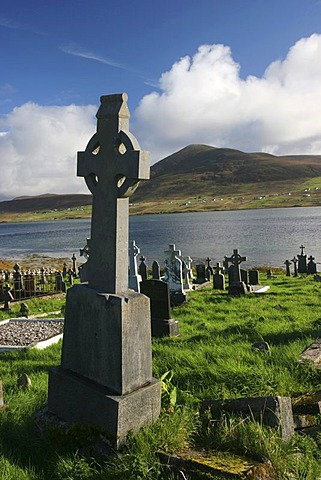 Cemetery with old crosses on Achill Island , Mayo , Connacht , Ireland , Europe