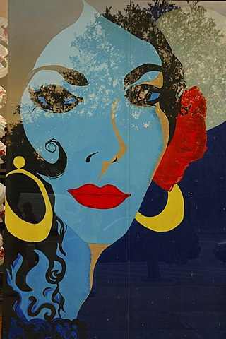 Pop-art portrait , Jerez de la Frontera , Cadiz , Andalusia , Spain , Europe