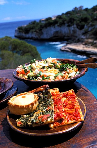 Typically majorcian dishes, Empanada , Cocas , salad , Palma de Majorca , Majorca , Balearic Islands , Spain, Europe