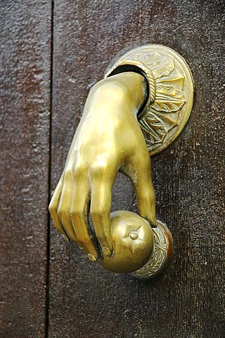 Doorknocker of a noble house , Cirauqui , Navarre , Way of St. James , Spain , Europe