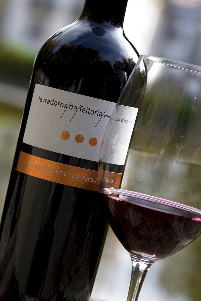 Red wine from Lavradores de Feitoria wine press house in the Douro area, North Portugal, Portugal, Europe