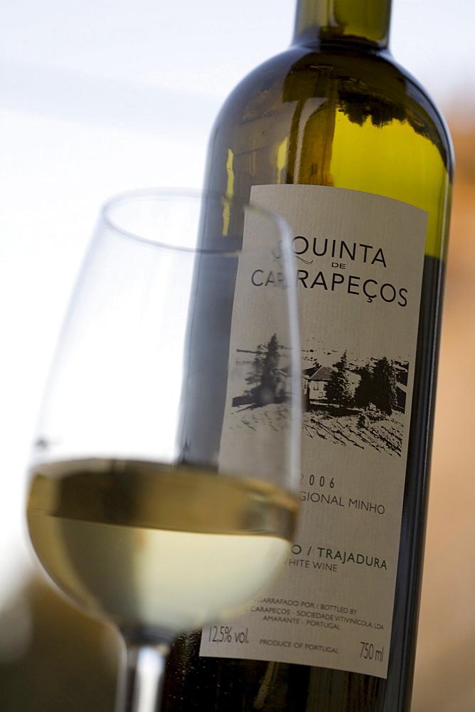 Vinho Verde, Alvarinho, Trajadura wine from Quinta de Carapecos made by oenologist Jorge Sousa Pinto near Amarante, Porto area, North Portugal region, Portugal, Europe
