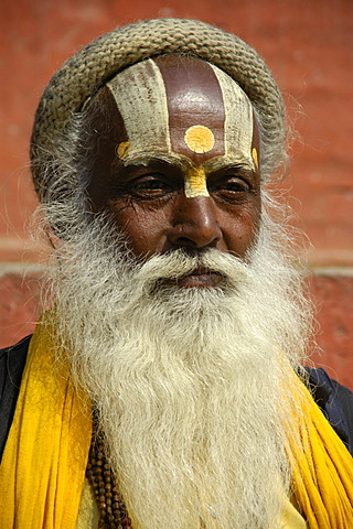 Portrait of a holy man sadhu with a white beard and painted forehead Kathmandu Nepal