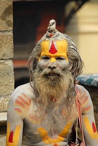 Holy man sadhu colourfully painted Pashupatinath Kathmandu Nepal