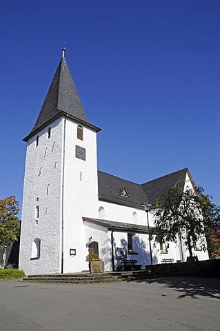 Bunte Kerke, an evangelical church, village church, Lieberhausen, Gummersbach, Bergisches Land, North Rhine-Westphalia, Germany, Europe, PublicGround